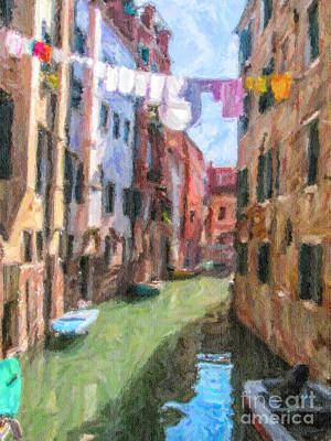 Venice Digital Art - Ghetto Canal Venice Italy by Liz Leyden