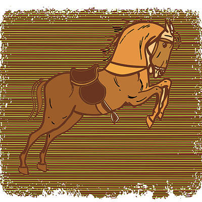 Painting - Ghora Tuck2 Playful Happy Horse Graphics by Navin Joshi