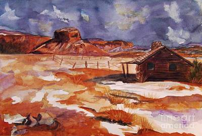 Abiquiu Painting - Ghost Ranch Nm Winter  by Ellen Levinson
