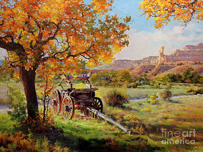 Wagon Wheels Painting - Ghost Ranch Old Wagon by Gary Kim