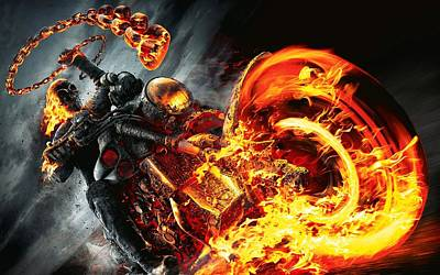 Ghost Riders Digital Art - Ghost Rider And Bike by Movie Poster Prints