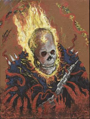 Painting - Ghost Rider City Of Souls And Sins  by Simon Drohen