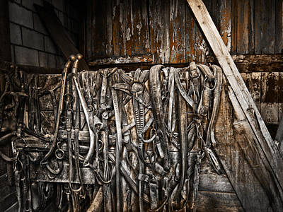 Livery Stable Photograph - Ghost Town Horse Tack - Virginia City Montana by Daniel Hagerman