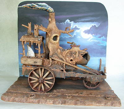 Polymer Clay Sculpture - Ghost Tractor by Stuart Swartz