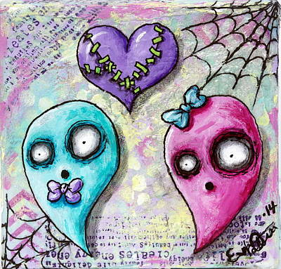 Creepy Mixed Media - Ghoulfriends by Lizzy Love