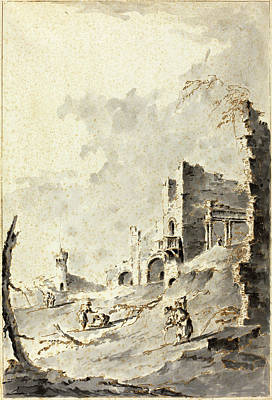 1835 Drawing - Giacomo Guardi Italian, 1764 - 1835, Capriccio Of Classical by Quint Lox
