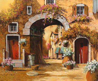 Red Sky Wall Art - Painting - Giallo Arancio by Guido Borelli