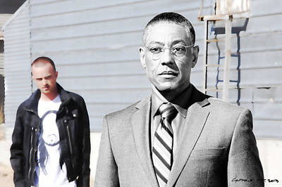 Digital Art - Giancarlo Esposito As Gustavo Fring And Aaron Paul As Jesse Pinkman @ Tv Serie  Breaking Bad by Gabriel T Toro