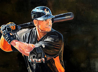 Giancarlo Stanton - Miami Marlins Print by Michael  Pattison