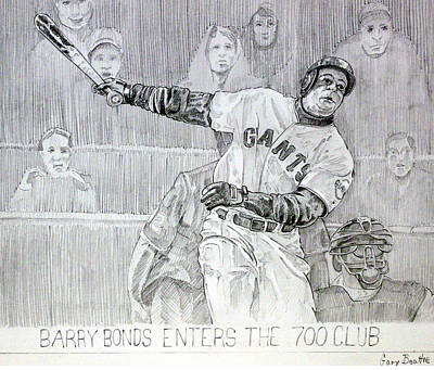 Barry Bonds Drawing - Giant Baseball Ployer Bary Bonds Enters The 700 Club by Gary Beattie