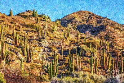 Mexico Digital Art - Giant Cordon Cactus by Liz Leyden