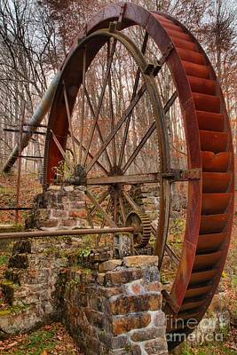 Photograph - Giant Grist Mill Gears by Adam Jewell