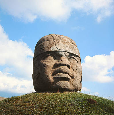 Precolumbian Photograph - Giant Head, Olmec Culture Stone by Pre-Columbian