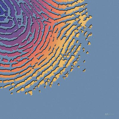 Digital Art - Giant Iridescent Fingerprint On Blue Knight Set Of 4 - 4 Of 4 by Serge Averbukh