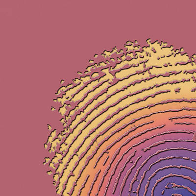 Digital Art - Giant Iridescent Fingerprint On Coral Pink Set Of 4 - 1 Of 4 by Serge Averbukh