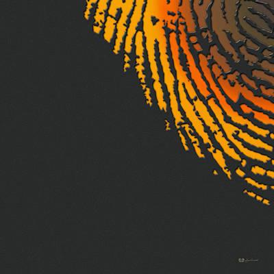 Digital Art - Giant Iridescent Fingerprint On Volcanic Rock Gray Set Of 4 - 3 Of 4 by Serge Averbukh