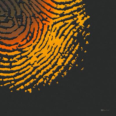 Digital Art - Giant Iridescent Fingerprint On Volcanic Rock Gray Set Of 4 - 4 Of 4 by Serge Averbukh