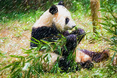 Big Teeth Painting - Giant Panda Is Eating Green Bamboo Leaf by Lanjee Chee