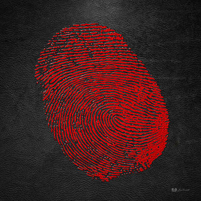 Digital Art - Giant Red Fingerprint On Black Leather   by Serge Averbukh