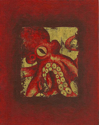 Giant Red Octopus Art Print
