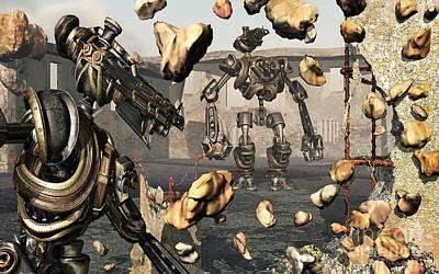 Destruction Digital Art - Giant Robots Demolishing Old Neglected by Mark Stevenson