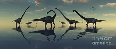 Prehistoric Digital Art - Giant Sauropod Dinosaurs Grazing by Mark Stevenson