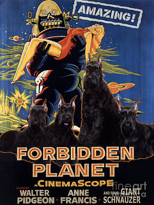 Forbidden Planet Painting - Giant Schnauzer Art Canvas Print - Forbidden Planet Movie Poster by Sandra Sij