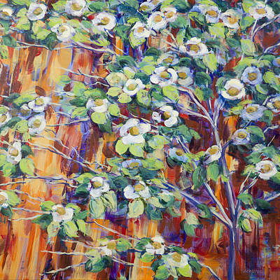 Giant Sequoia Painting - Giant Sequoia With Dogwood Blossoms by Joy Collier