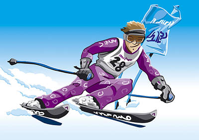 Man Digital Art - Giant Slalom Skier Winter Sport by Frank Ramspott