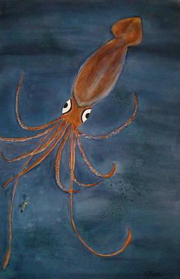 Giant Squid Painting - Giant Squid Fiction by Karen j Kobrin Cohen