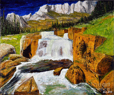Painting - Giant Steps Waterfall by Jack Hedges