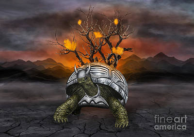 Giant Turtle Warrior In The Old Metal Armor... Art Print