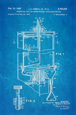 Gibbon Photograph - Gibbon Heart-lung Machine Patent Art 1955 Blueprint by Ian Monk