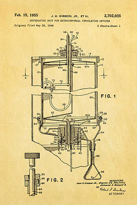 Doctors Photograph - Gibbon Heart-lung Machine Patent Art 1955 by Ian Monk
