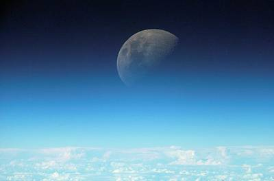Gibbous Moon And Airglow Art Print by Nasa
