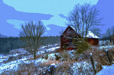 Red Barn In Snow Digital Art - Gibisonville - Ohio 2 by Brian Stevens