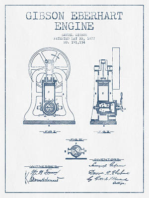 Gibson Eberhart Engine Patent Drawing From 1877- Blue Ink Art Print