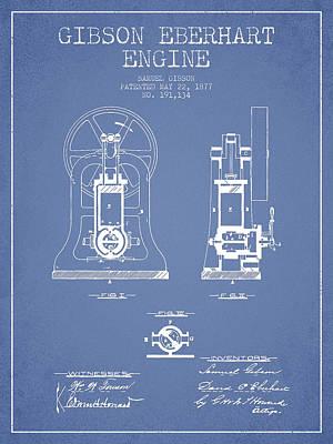 Gibson Eberhart Engine Patent Drawing From 1877- Light Blue Art Print