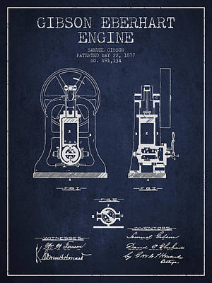Steam Engine Digital Art - Gibson Eberhart Engine Patent Drawing From 1877- Navy Blue by Aged Pixel