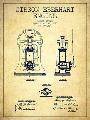 Gibson Eberhart Engine Patent Drawing From 1877- Vintage Art Print