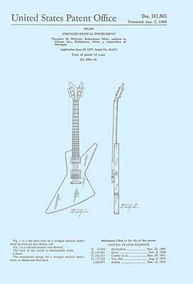 Rock N Roll Digital Art - Gibson Explorer  Patent 1958 by Georgia Fowler