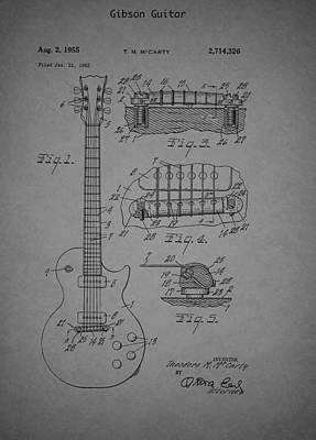 Gibson Guitar Drawing - Gibson Guitar Patent 1955 by Mountain Dreams