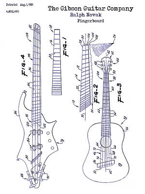 Gibson Drawing - Gibson Guitar Patent Blueprint by Jon Neidert