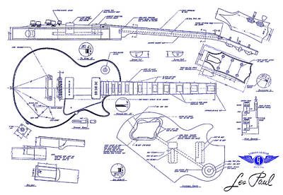 Neck Drawing - Gibson Les Paul Blueprint Drawing by Jon Neidert