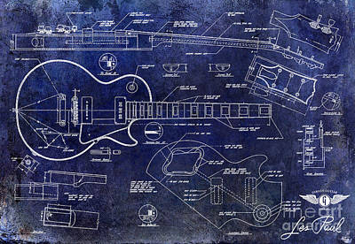 Gibson Drawing - Gibson Les Paul Blueprint by Jon Neidert