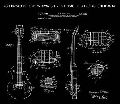 Notable Digital Art - Gibson Les Paul Guitar 2 Patent Art 1955 by Daniel Hagerman