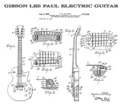 Jazz Digital Art - Gibson Les Paul Guitar 4 Patent Art 1955 by Daniel Hagerman