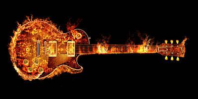 Jimmy Page Digital Art - Gibson Les Paul Guitar On Fire by Robert Gardiner