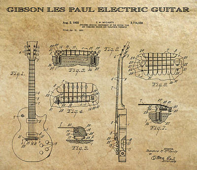 Historical Digital Art - Gibson Les Paul Guitar Patent Art 1955 by Daniel Hagerman
