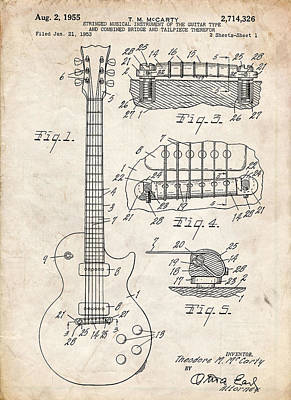 Telecaster Drawing - Gibson Les Paul Guitar Patent Art by Stephen Chambers